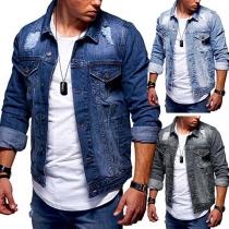 Fashion Long Sleeve POLO Collar Ripped Man's Denim Coat
