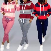 Fashion Long Sleeve Hooded Striped Sweatshirt + Pants Two-piece Set (It falls small)