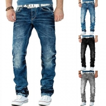 Fashion Middle Waist Man's Straight Jeans