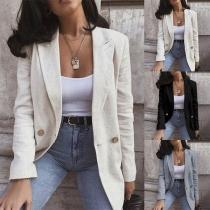 OL Style Long Sleeve Solid Color Blazer Jacket