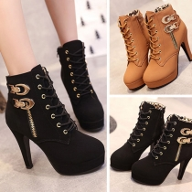 Sexy High-heeled Round Toe Side-zipper Lace-up Ankle Boots Booties
