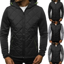 Fashion Contrast Color Long Sleeve Hooded Thin Man's Coat