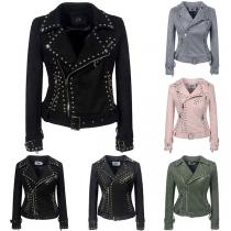 Retro Style Long Sleeve Oblique Zipper Rivets PU Leather Jacket