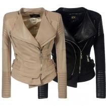 Fashion PU Leather Spliced Long Sleeve Oblique Zipper Slim Fit Jacket