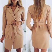 OL Style Long Sleeve Slim Fit Blazer Coat with Waist Strap