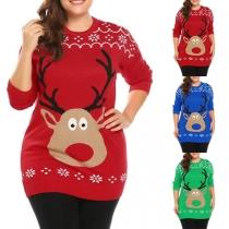 Cute Style Long Sleeve Round Neck Elk Pattern Sweater