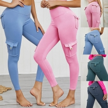 Fashion Solid Color High Waist Side-pocket Stretch Leggings