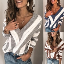 Sexy V-neck Long Sleeve Contrast Color Striped Top