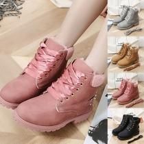Fashion Flat Heel Round Toe Plush Lining Lace-up Snow Boots