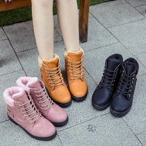 Fashion Flat Heel Round Toe Plush Lining Lace-up Martin Boots