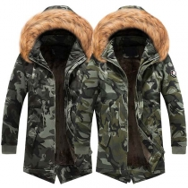 Fashion Faux Fur Spliced Hooded Plush Lining Camouflage Printed Man's Padded Coat