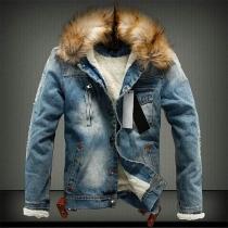 Fashion Faux Fur Spliced Hooded Plush Lining Man's Denim Coat