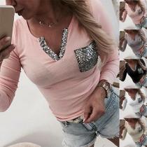 Fashion Sequin Spliced V-neck Long Sleeve T-shirt(It falls small)