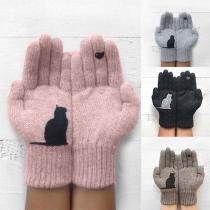 Cute Cat Pattern Knit Gloves