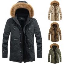 Fashion Faux Fur Spliced Plush Lining Solid Color Men's Coat