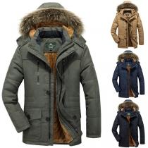 Fashion Faux Fur Splicied Hooded Plush Lining Man's Warm Coat