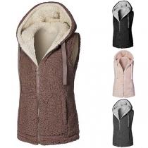 Fashion Solid Color Hooded Plush Vest
