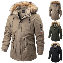 Fashion Faux Fur Spliced Hooded Drawstring Waist Man's Padded Coat