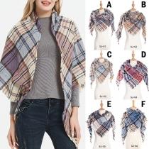 Fashion Tassel Edge Plaid Triangle Shawl Scarf