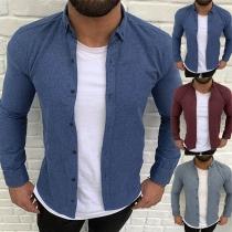 Fashion Solid Color Long Sleeve POLO Collar Man's Shirt