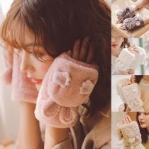 Cute Solid Color Rabbit Ear Plush Gloves
