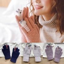 Cute Cartoon Pattern Contrast Color Knit Gloves