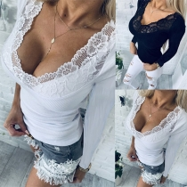 Sexy Lace Spliced V-neck Long Sleeve Slim Fit T-shirt