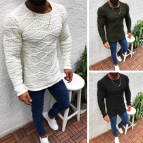 Fashion Solid Color Long Sleeve Round Neck Slim Fit Man's Sweater