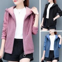 Fashion Long Sleeve Hooded Faux Cashmere Coat