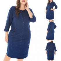 Fashion 3/4 Sleeve Round Neck Rhinestone Spliced Denim Dress