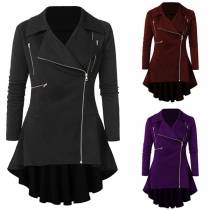 Retro Style Long Sleeve Side-zipper High-low Hem Coat