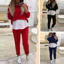 Fashion Irregular Pants Length Spliced Hooded Sweatshirt + Pants Two-piece Set