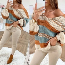 Fashion Contrast Color Long Sleeve V-neck Loose Sweater