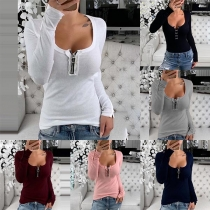 Fashion Solid Color Long Sleeve Round Neck T-shirt