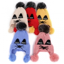 Cute Hairball Spliced Cat Shaped Children Knit Beanies