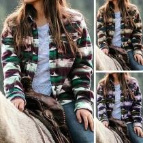 Fashion Long Sleeve POLO Collar Printed Shirt Coat