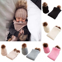 Fashion Faux Fur Spliced Knit Beanies + Scarf Two-piece Set for Kids