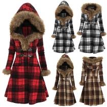 Fashion Flaux Fur Spliced Hooded Long Sleeve Plaid Jacket