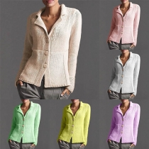 Fashion Solid Color Long Sleeve Notched Lapel Knit Coat