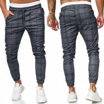 Fashion Elastic Waist Man's Plaid Pants