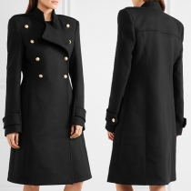 OL Style Long Sleeve Stand Collar Double-breasted Woolen Coat