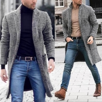 Retro Style Long Sleeve Notched Lapel Man's Plaid Woolen Coat
