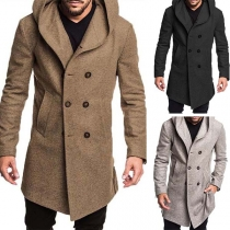 Fashion Solid Color Double-breasted Hooded Man's Woolen Coat