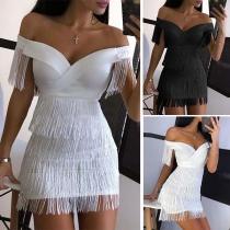 Sexy Off-shoulder Boat Neck Slim Fit Tassel Dress