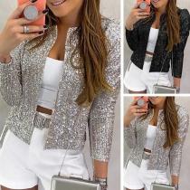 Fashion Long Sleeve Slim Fit Sequin Blazer