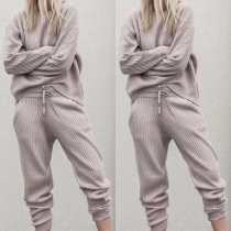 Fashion Solid Color Long Sleeve Knit Top + Pants Two-piece Set