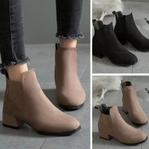Retro Style Square Heel Round Toe Ankle Boots