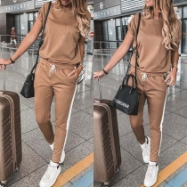 Fashion Contrast Color Short Sleeve Round Neck Sports Suit