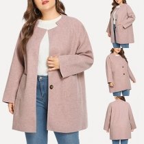 Fashion Solid Color Long Sleeve Stand Collar Plush-size Coat