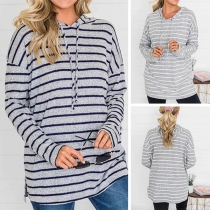 Casual Style Long Sleeve Hooded Striped Sweatshirt